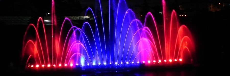 Fuente iluminada